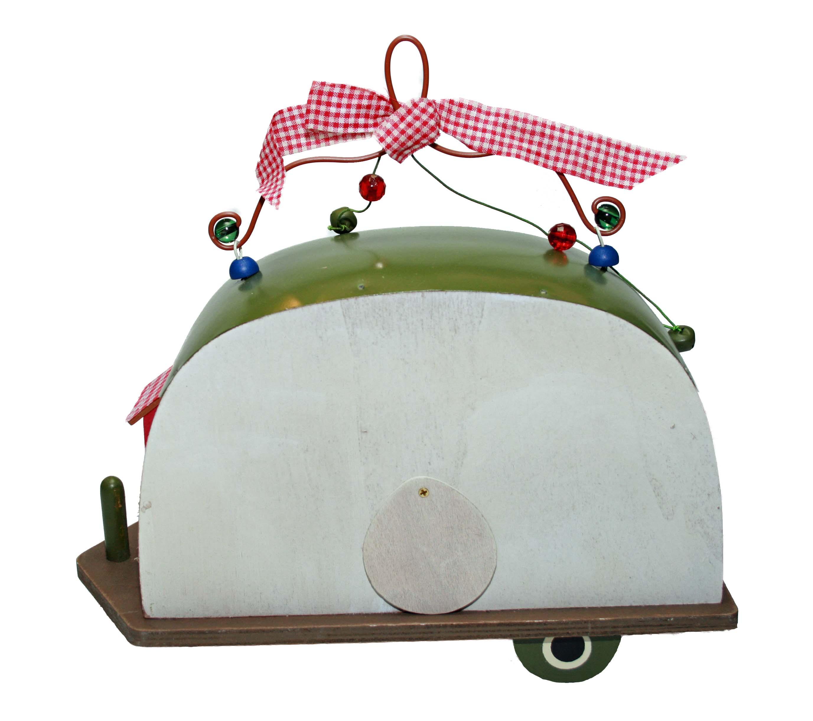 dekoratives vogelhaus wohnwagen im rustikalen retrolook aus metall und holz neu. Black Bedroom Furniture Sets. Home Design Ideas